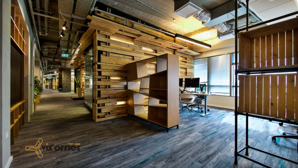 The office design uses recyled and reused