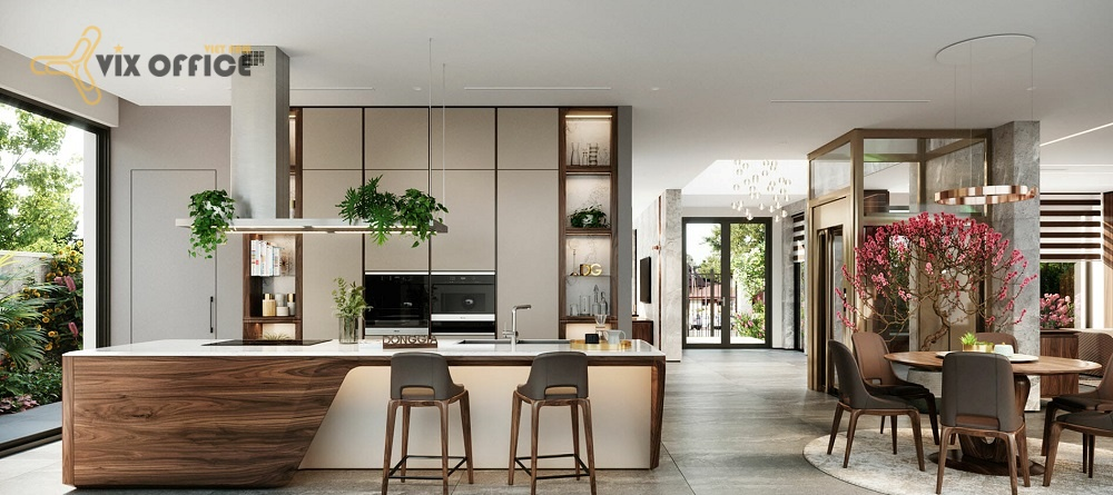 Designing a kitchen with a living room is the optimal solution for a small space
