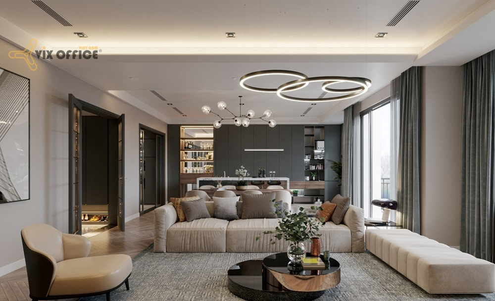 The commonly room separates the living room